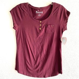 SPLASH burgundy short sleeve pocket tee size XL
